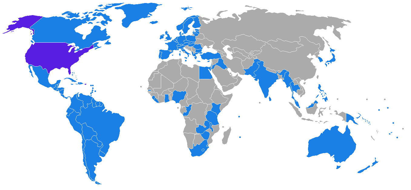 Map of countries with a US extradition agreement
