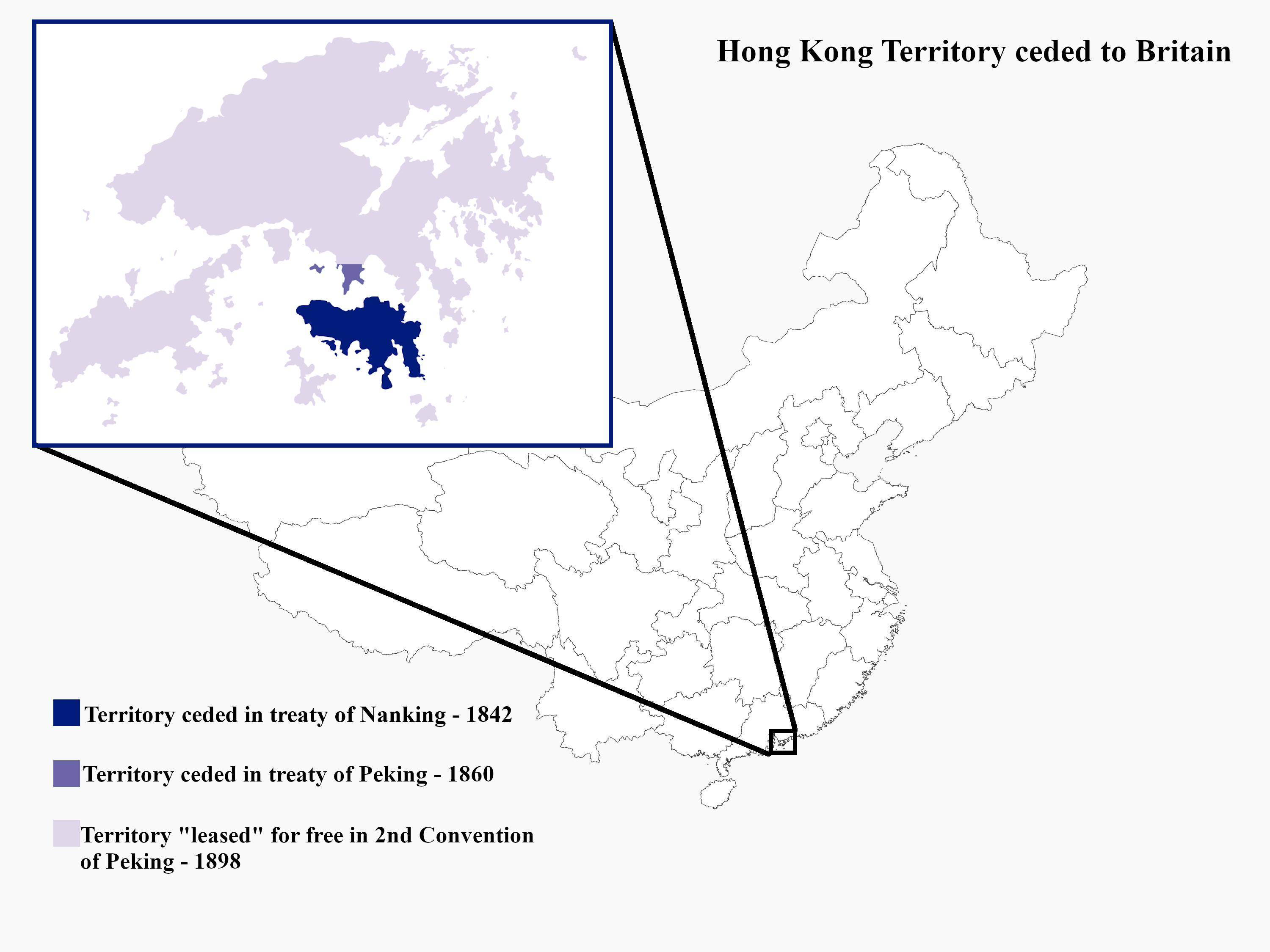 Location of Hong Kong and ceded territory