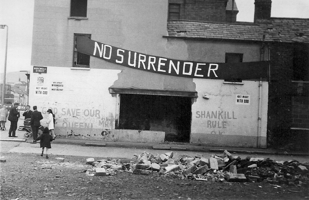 A Banner and Rubble in Belfast during the Troubles